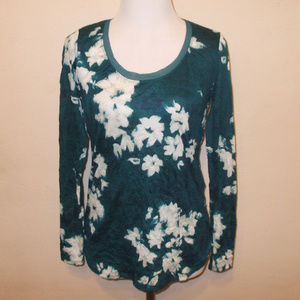 Teal/White Floral Scoop Neck Blouse